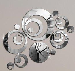 Wholesale 2015 new sale d craft quartz living room plastic mirror wall clock mirrored acrylic watch clocks home decoration