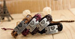 12pcs lot I love jesus Handmade Unisex Men Women's Leather Bracelet braided Tribal Bangle