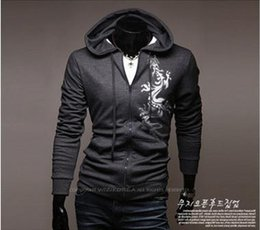 Wholesale Male Cardigan Chinese Men s Clothing Han Edition Cultivate One s Morality Men s Big Yards Coat Dragon Printing Large Hooded Fleece
