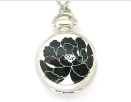 Wholesale Hot sales Fashion quartz Unique design Ink painting lotus enamel White steel Take the mirror pendant Necklace pocket watch