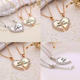 New broken heart necklaces Fashion 2 part rhinestone crystal Friends Necklaces & Pendants jewelry best gift for Friends