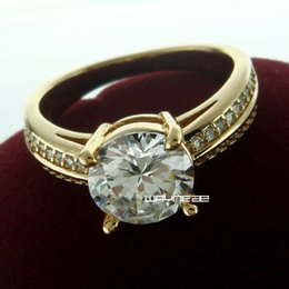 r240-Size 7 Woman's Cute White Sapphire 18K Yellow Gold Filled Ring Gift