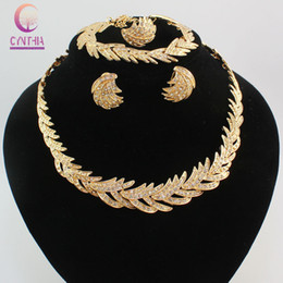 Good Quality Luxury Leaf 18K Gold Silver Plated Crystal Necklace Earrings Bracelet Ring Jewelry Sets African Fashion Women Party Set