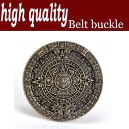 High quality The Aztec sun crystal element belt buckle zinc alloy plating copper agio round belt buckle 4.0 cmWT126AB