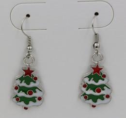 Wholesale Earring Green ENAMEL Christmas tree EARRINGS Antique silver Fishhook Ear Wire x15mm ab637