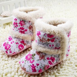 Winter New Style Infant Boots Thicken Keep Warm Baby Girls Snow Boots Floral Print Shoes First Walker For Toddler 11-12-13 0-1Age K614