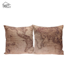5 Pcs lot 45cm*45cm Pillow Cases 2015 Decorative World Map Print Pillow Case Eco-Friendly Pillows Cover Free Shipping