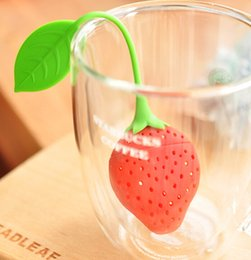 Wholesale pieces cute lovely Silicone Strawberry style Design Tea Strainer Herbal Spice Infuser Filter Tools