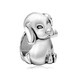 Personalized jewelry small dog animal European bead metal charm ladies bracelet with big hole Pandora Chamilia Compatible
