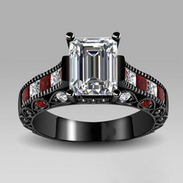 victoria wieck rings Vintage Jewelry Red Garnet Diamonique 10KT Black Gold Filled Simulated diamond Wedding Ring Christmas gift Size 5-10