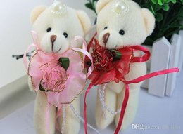 Wholesale 12cm Beige Teddy Bear With Lace Pink Red Dress Stuffed Plush Toys Flower Bouquet Material Soft Mini Beaded Women Girls Kids Doll