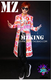 Male singer clubs in Europe and the runway looks white letters long windbreaker suit costumes. S - 6 xl