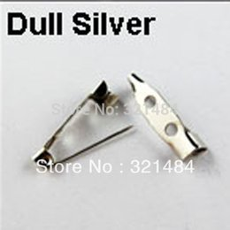 Wholesale Free ship mm Rhodium Dull Silver Plated with Two Hole Safety Pin Brooch bar pin Back Findings