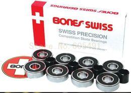 Wholesale Only Today Bones Swiss bearings spacers set White box Red Bones Bearing Switzerland Skateboard bearing A3
