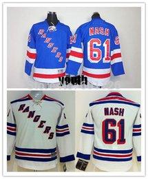 Factory Outlet, Youth New York NY Rangers #61 Rick Nash Jersey Home Blue Road White Alternate Navy Blue kids Hockey Jerseys