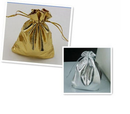 Wholesale Hot Gold Or Silver Foil Organza Wedding Favor Gift Bag Pouch Jewelry Package x7cm x9cm x12cm x16cm x18cm