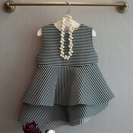Wholesale Girls Dress Autumn New Cute Doll Cotton Space Vertical Stripes Stitching Vest Dress Slim