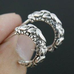 925 Sterling Silver Claw Mens Biker Rocker Earring 8M018
