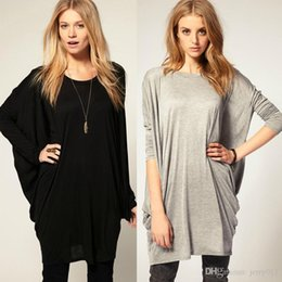 New Fashion Women Black Grey Long Batwing Bat Sleeve Loose Oversize Long T-shirt Over Size Tee Knit Top Casual Shirt Plus Size