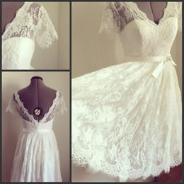 Elegant Lace A Line V-Neck Short Sleeve Short Wedding Dresses Plus Size With Sash Wedding Dresses Dress Backless Tulle