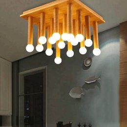 Wholesale LOFT Modern Fashion Simple Creative Wood LED Ceiling Light Bedroom Balcony Aisle Lamp Dining Room Light