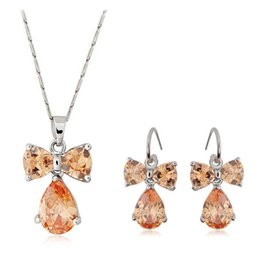 Newest Model Bowknot Zircon Necklace and Earrings Sets 18KGP Alloy CRYSTAL Jewelry Sets For Women Best GIFT Wedding Jewelry Sets 032