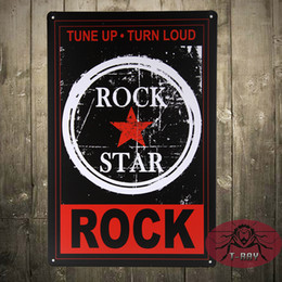 Wholesale Music Zone Decor Tin Sign Metal Plate Tune Up Turn Loud Rock Star