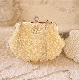 Wholesale Studded Bag Free Shipping - Wholesale-Free Shipping 2015 Women's Wedding Rhinestone Bag Fashion Clutch Wallet Detachable Chain Stunning Pearl Studded Evening