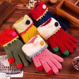 Wholesale 2015 Hot Winter Miss Mao mouth thick knitted gloves warm gloves touch JIA506