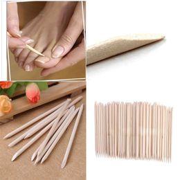 Wholesale-100X Nail Art Orange Wood StickS Cuticle Pusher Remover Nail Art Beauty Tool New