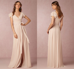 2019 Bridesmaid Dresses Cheap A-Line V-Neck Short Sleeve Split Chiffon Nude Pink Maid Honor Special Occasion Dresses For Wedding