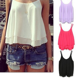 Fashion women chiffon tanks camis blouses shirts sexy lady Ruffle 2 layer vest tops tees summer beach wear clothing gift