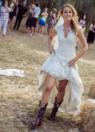 Wholesale Short Wedding Dress Boots - Country Style Wedding Dresses Hi Lo Lace V Neck Short Sleeve Taffeta Floor Length Zipper Bridal Gowns With Boots Veil Custom Made 2015