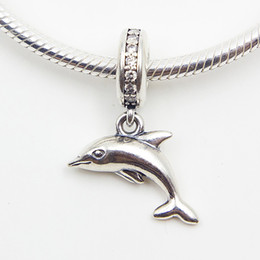DOLPHIN SILVER DANGLE DIY Beads Real Solid 925 Sterling Silver Not Plated Fits Original Pandora Bracelets & Bangles & Necklaces