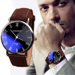 Wholesale Brand New Brown Luxury Men Watch Fashion Faux Leather Mens Roman Numerals Quartz Analog Watch Casual Male Business Watches