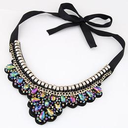 2015 Fashion Collier Crystal Necklace Women Rhinestone Pendant Necklace Ribbon Choker Bib Collar Statement Necklaces
