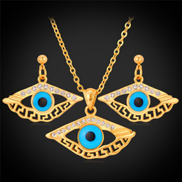 Diamond Accented Evil Eye Crystal Necklace Earrings 18K Gold Plated Rhinestone Jewelry Set For Women S711