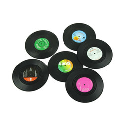 Wholesale 6 set Home Table Cup Mat Creative Decor Coffee Drink Placemat Spinning Retro Vinyl CD Record Drinks Coasters