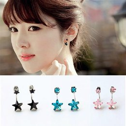 Wholesale Korean version small jewelry black colored stars hanging from dual earrings female