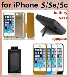 high capacity 4500mah battery case for iphone 5 5s 5c with stand holder backup portable battery charger case power bank phone case BAC004