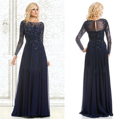 Wholesale Navy Blue Hot Sale Chiffon Mother of the Bride Dresses with Long Sleeves Shiny Sequins Full Length Mother Dress For Women Plus Size