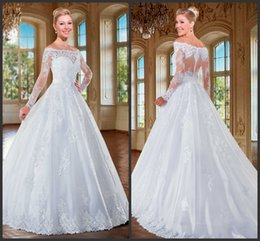 Wholesale KR Wedding Dresses White Appliques Lace Off The Shoulder Illusion Long Sleeves Satin Band See Through Back Ball Gown Bridal Gowns