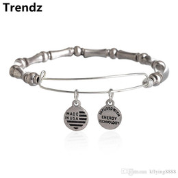 Wholesale 2015 Newest Alex Ani Antique Silver Bamboo Motif Expandable Wire Charm Bangle Beaded Wrap Bracelet Adjustable Size AA201508