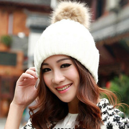Wholesale-lowest prNew 2015 Fashion knitted woolen women winter beanie hats with fur pompoms female autumn ladies colorful head caps