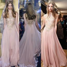 Elie Saab Blush Chiffon Evening Dresses with Gold Appliques Lace Prom Dress Illusion Party Gowns A Line maxi dress vestido de festa
