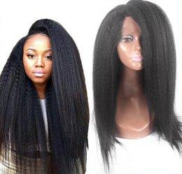 18 black hair en Ligne-7A bon marché italien Yaki sans colle dentelle pleine perruques de cheveux humains pour le noir femmes Virgin Remy de Brésilien Kinky dentelle droite avant Perruques