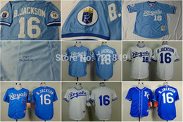 Wholesale 2016 New Good Quality Hot Sale Fast Delivery KC Kansas City Royals Older Jersey Bo Jackson throwback blue white coolbase