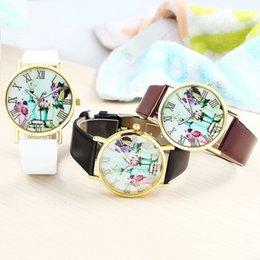 Wholesale Stylish Flower Oil Paiting Quartz Wristwatch Women Dress Watches Synthetic Leather Vine Watch Y