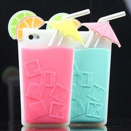 Wholesale Pink Summer Drink D Cocktail Cup Lemon Beverage Silicone Case For iPhone With Retail Package