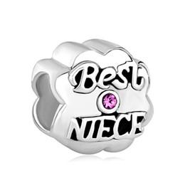 Best Niece Ruby Crystal Metal Slider Bead Big Hole European Spacer Charms Fit Pandora Chamilia Biagi Charm Bracelet
